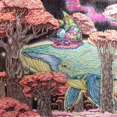신비한 숲속 도서관 - 고래 클로즈업  #신비한숲속도서관#박은지작가#현암사#컬러링북#coloredpencil#coloring#coloringbook#themysteriouslibrary#adultcoloringbook#기린색연필#prismacoloredpencils#고래#whale#색연필