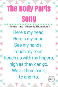 Cute Preschool Songs about Body Parts Do your kids love songs? We found 10 of the best Preschool Songs about Body Parts for you. The kids can sing, wiggle, & learn the names of their body parts. Body Preschool, Preschool Songs, Preschool Lessons, Preschool Learning, Toddler Preschool, Circle Time Ideas For Preschool, Transition Songs For Preschool, Body Parts Preschool Activities, Toddler Circle Time