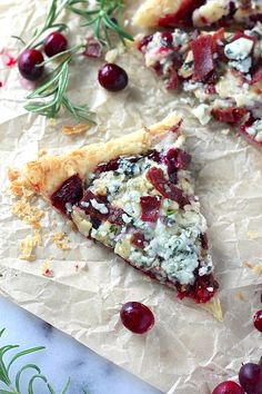 Cranberry Sauce, Bacon, and Gorgonzola Pastry Puff Pizza
