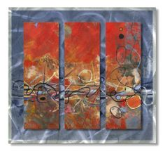 "AllMyWalls PALM00011 Ruth Palmer Rhythm Metal Wall Art by AllMyWalls. $394.00. Add a touch of color and class to any room with this ""Rhythm"" metal wall sculpture by Ruth Palmer. These metal wall hangings consist of torch-cut 18-gauge steel layers, stud construction, and one-of-a-kind hand-sanding, which creates a three dimensional visual effect that is comparable to a hologram. With over 500 paintings to choose from, there is something for every taste and every r..."