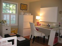 Guest Room Office Makeovers | Now I want to show you inside the white cabinet: