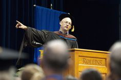 Clay Shirky Delivers Forward-Looking Convocation Address for Rollins' Founders' Day.  After a symbolic academic procession that begun at Winter Park's City Hall and concluded at Alfond Sports Center, the Rollins community filed into Warden Arena to attend the first of many events planned to celebrate the College's 125th birthday