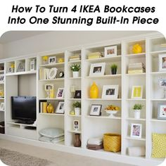 How To Turn 4 IKEA Bookcases Into One Stunning Built-In Piece - http://www.hometipsworld.com/how-to-turn-4-ikea-bookcases-into-one-stunning-built-in-piece.html