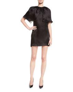 BRANDON MAXWELL CAPE-SLEEVE SILK MINI DRESS, BLACK. #brandonmaxwell #cloth #
