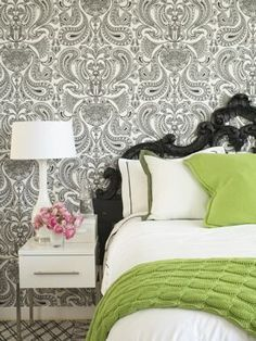 Black, white & green with graphic wallpaper. #bedroom #B&W #green