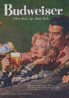 1958 Budweiser Beer Ad Retro Couple Autumn Fall by AdVintageCom