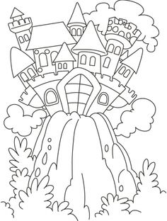 Coloring page!  Fairy tale castle on the hill