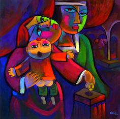 The-Widow's-Offering.jpg (600×597) by artist He Qi