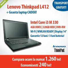Laptopuri second hand cu procesor Intel Core i3 si i5 la super pret! Astazi ai laptopul Lenovo ThinkPad L412, cu Intel Core i3, 4GB memorie si 320GB HDD la numai 1.260 lei + geanta CADOU!