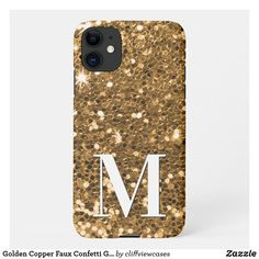 Golden Copper Faux Confetti Glitter Monogram iPhone 11 Case Monogram Letters, Online Gifts, Dog Design, Iphone 11, Confetti, Copper, Girly, Glitter, Phone Cases