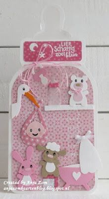 Handmade card in the shape of a baby bottle by DT member Anja with Collectables Eline's Stork (COL1420), Eline's Baby Essentials (COL1421) and Eline's Baby Animals (COL1422) from Marianne Design