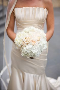 White Hydrangea and Cream/Blush Roses