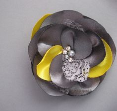 Wedding bridesmaid bridal hair accessory Hair clip and brooch (2in1) Bright Yellow, Canary, Charcoal silver, grey fascinator bridesmaid gift. $27.00, via Etsy.