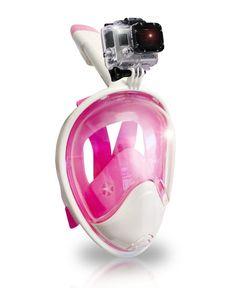 AquaMask – Full Face Snorkel Mask (White-Pink)