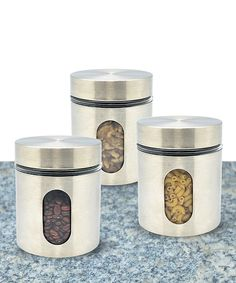 Another great find on #zulily! Home Collections Three-Piece Stainless Steel Canister & Lid Set by Home Collections #zulilyfinds