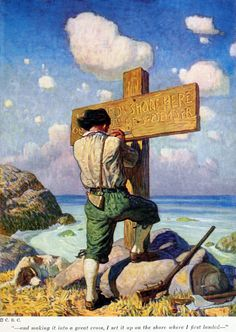 'Robinson Crusoe' by Daniel Defoe; pictures by N.C. Wyeth. Published 1920 by Cosmopolitan Book Corporation, New York. See the complete book here.