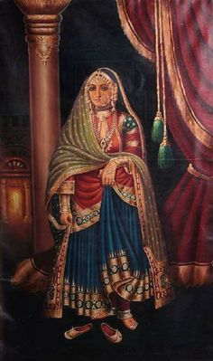 Portrait Drawing Courtesan - From the Oils collection in our Paintings category, this is Courtesan. Item specifications: Oil on Canvas - Artist: Anup Gomay Mughal Paintings, Tanjore Painting, Indian Art Paintings, Rajasthani Painting, Rajasthani Miniature Paintings, Indian Women Painting, Royal Indian, Vintage India, Indian Prints