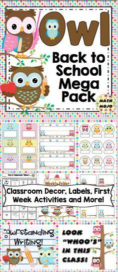 Back to School - Owl Theme Owl Theme Classroom, First Grade Classroom, First Grade Math, Kindergarten Classroom, Grade 3, Second Grade, Classroom Ideas, Open House Activities, Owl Activities
