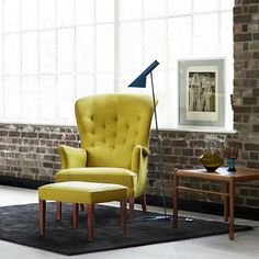 Yellow Frits Henningsen Heritage Chair and Footstool in Loft | Carl Hansen & Son
