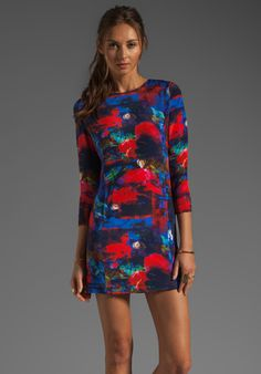 MAX FOWLES Mini Shift Dress in Multi Print