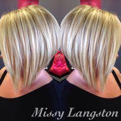 Short blonde inverted bob using Olaplex by Missy Langston. Blondie's Hair Salon (864) 226-3030 #teamblondies