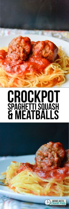 OMG! This is crazy easy and oh so good! Crockpot Spaghetti Squash & Meatballs Recipe. Paleo friendly!