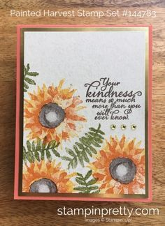 SNEAK PEEK from the Stampin' Up! Holiday catalog of the Painted Harvest Stamp Set. Read more https://stampinpretty.com/2017/08/painted-harvest-thank-card-clearance-sale.html
