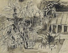 Bonhams : John Minton (British, 1917-1957) Cottage by trees 24 x 30.5 cm. (9 1/2 x 12 in.)