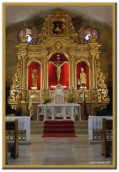 The Sanctuary, St Thomas of Villanueva Church, Miagao, Iloilo, Philippines; a UNESCO World Heritage Site. Catholic Altar, Roman Catholic, Old Churches, Catholic Churches, My Father's House, Jesus Christ Images, Church Pictures, Church Interior, Church Architecture