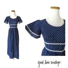 Heart Print Dress 70s Maxi Flutter Sleeve Lace Navy Blue 1970s Hippie Hippy Prairie Cute Kawaii Empire Waist Size Small by GoodLuxeVintage on Etsy