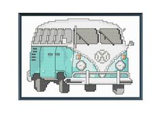 Teal Vintage VW Bus Modern Cross Stitch Pattern by tinymodernist.