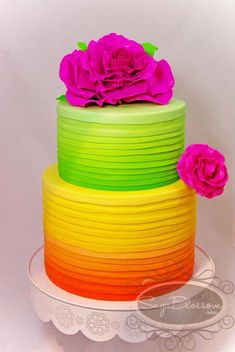 Neon rainbow bright colored wedding cake.  Ombre Cake by Cake Appreciation Society Member Sugablossom Cakes - See NSW Directory Listing at www.cakeappreciationsociety.com