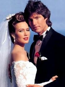 Hunter Tylo as Taylor and Ronn Moss as Ridge on The Bold and The Beautiful.