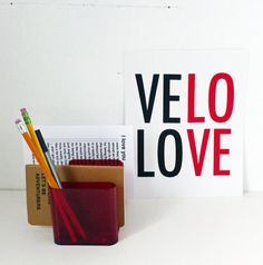 Velo Love Screen Printed Poster  10x8  Typography  by fifiduvie, $25.00