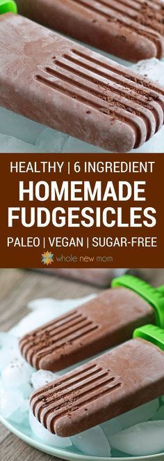 Love Fudgesicles? Here's a dairy-free, Sugar-free Fudgesicle recipe with all the yummy flavor of the real thing! A great Low-Carb Popsicle Treat. via @wholenewmom