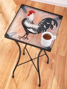 Rooster Glass Accent Table from Collections Etc. Chicken Painting, Chicken Art, Modern Boho, Modern Decor, Chicken Kitchen Decor, Rooster Kitchen, Rooster Decor, Collections Etc, Chickens And Roosters