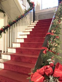Rippavilla Mansion staircase with red runner - perfect stairway for Christmas! Christmas Is Coming, Christmas And New Year, Christmas Home, Vintage Christmas, Matching Paint Colors, Benjamin Moore Paint, Stairway To Heaven, Outdoor Christmas Decorations, Seasonal Decor