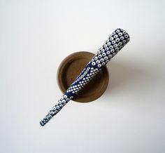 Navy Blue Shibori Print Long Hair Clip Alligator by tomoandedie