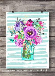Printable art | Spring Watercolor flowers bouquet print | Watercolor decor art print | Mason jar floral Printable wall art | Watercolor