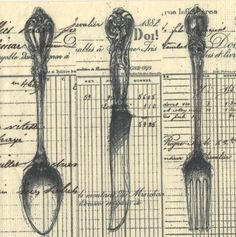 spoon,knife,fork; this is art journal.  I can use book pages/maps plus painted flatware.