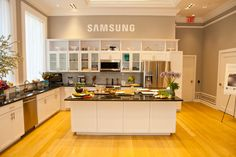The beautiful #SamsungHouse kitchen stocked with Samsung appliances.