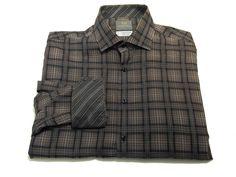 Thomas Dean L Men's Flip Cuff Black Gray Check Long Sleeve Button Front Shirt #ThomasDean #ButtonFront