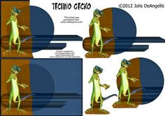 Techno Gecko on Craftsuprint designed by Jolis DeAngelis - A nice, masculine Gecko card ready for anyone on your list. Not that you can't give it to a woman on your list! Have fun and distribute freely. - Now available for download!