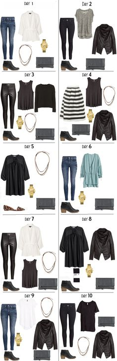 In my last post I made a 10 Days in Stockholm, Sweden packing light, packing list. Above is 10 day outfits options and below is 10 night outfit options using those pieces from the list.