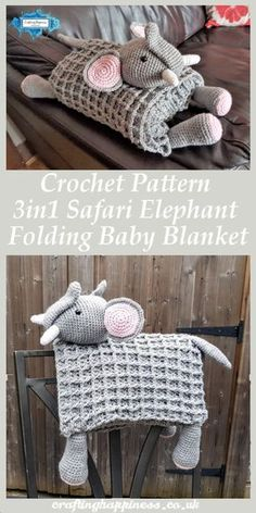 Crochet Pattern: Safari Elephant Baby Blanket Toy Lovey - Crafting Happiness Elephant Baby Blanket that folds into a elephant toy.Use it as a blanket,play mat,toy or decor.This Elephant Baby Blanket is the perfect baby shower gift. Crochet Elephant Pattern, Crochet Blanket Patterns, Baby Blanket Crochet, Baby Patterns, Crochet Patterns For Baby, Crochet Baby Stuff, Crochet Ideas, Elephant Baby Blanket, Baby Blanket Size