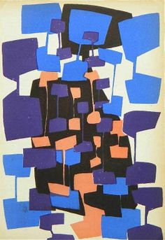 CAROL RAMA ORIGINAL SERIGRAPH. FROM D'ARTE D'OGGI (1955-56) PUBLISHED BY GROUPE ESPACE, MILAN