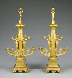 Pair of Candelabra; Designed by Filippo Pelagio Palagi (Italian, 1775 - 1860); about 1830 - 1840; Gilt bronze.