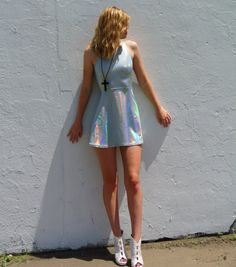 Holographic Dress with Open Back by HomeCookedKarma on Etsy