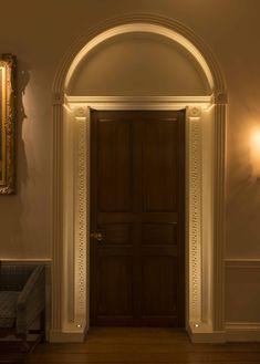 Entrance Lighting Design by John Cullen Lighting Corridor Lighting, Entrance Lighting, Linear Lighting, Porch Lighting, Luxury Lighting, Interior Lighting, Lighting Design, Hall Interior, Interior Exterior