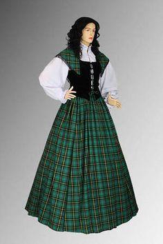 Traditional Scottish Tartan Dress Ensemble No. 1 Green